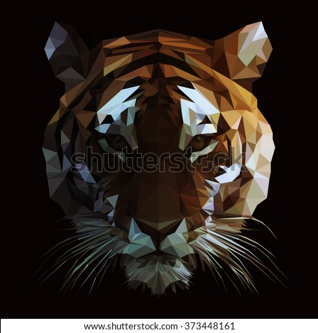 Low poly vector tiger illustration. Polygonal animal graphic design. - stock vector