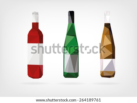 Low Poly Wine Bottle - stock vector
