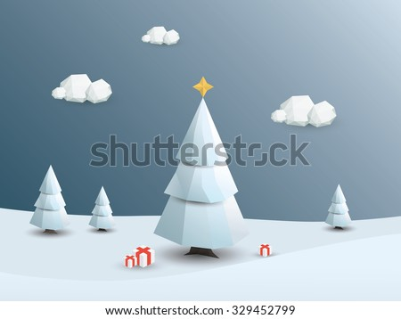 Low poly winter landscape vector background. 3d Polygonal Christmas white trees with snow. Eps10 vector illustration. - stock vector