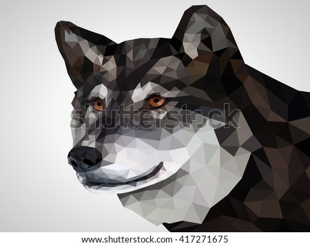 Low poly wolf illustration. Low poly design. - stock vector