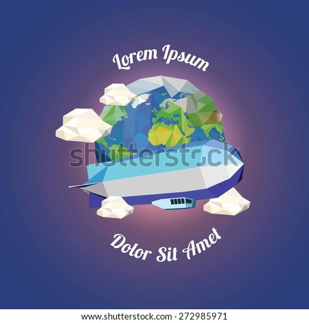 Low poly zeppelin  near earth with clouds. vector illustration - stock vector