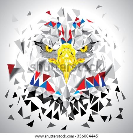 Low polygon Eagle illustration vector - stock vector