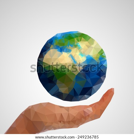 Low polygon Hand and globe vector illustration.  - stock vector