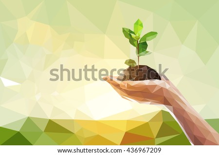 Low polygon of two Hand holding young plant on green nature blur bokeh background - stock vector