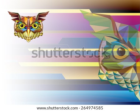 Low polygon Owl head in geometric pattern vector illutration - stock vector