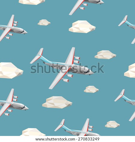 Low polygon seamless background clouds sky  and plane - stock vector