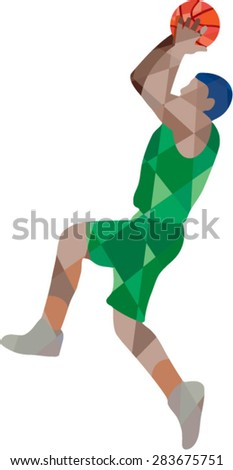 Low polygon style illustration of a basketball player jump shot jumper shooting jumping viewed from the side set on isolated background.  - stock vector