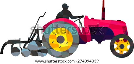 Low polygon style illustration of a farmer driver driving riding vintage tractor plowing field viewed from side set on isolated white background.  - stock vector