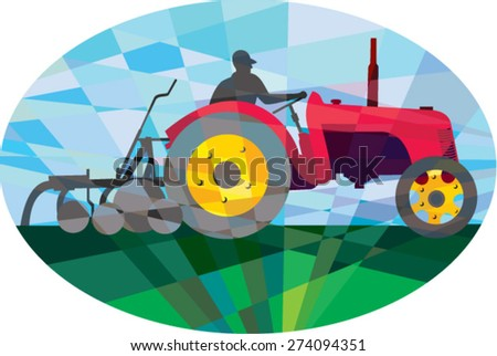 Low polygon style illustration of a farmer driving riding vintage tractor plowing field viewed from the side set inside an oval.  - stock vector