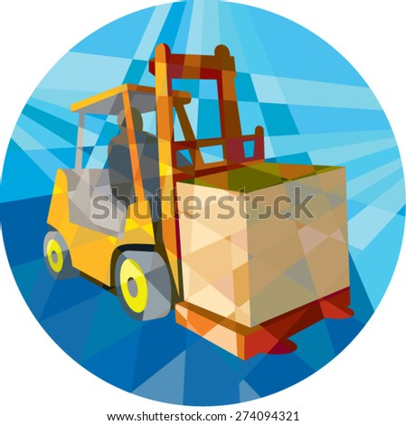 Low polygon style illustration of a forklift truck and driver at work lifting handling box crate viewed from front set inside circle on isolated background.  - stock vector