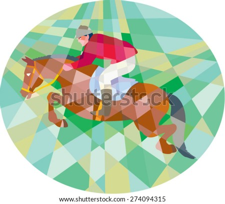 Low polygon style illustration of a horse and jockey equestrian show jumping viewed from side set inside oval. - stock vector