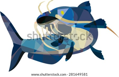 Low polygon style illustration of a ray-finned fish catfish also known as mud cat, polliwogs or chucklehead looking up set on isolated white background.  - stock vector