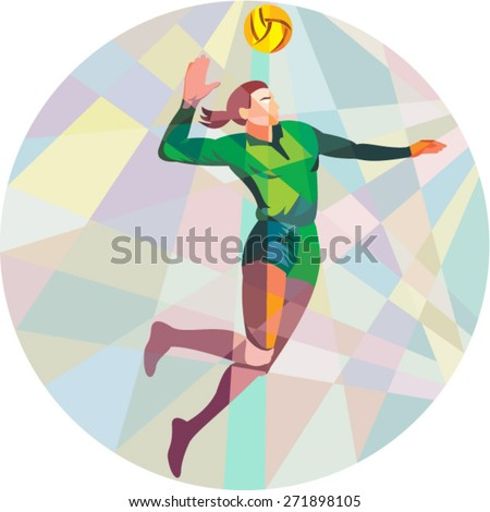 Low polygon style illustration of a volleyball player spiker jumping spiking hitting ball viewed from the side set inside circle on isolated background. - stock vector