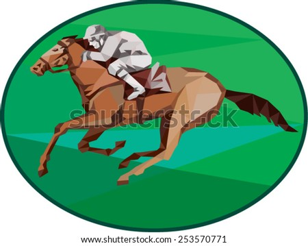 Low Polygon style illustration of horse and jockey racing viewed from the side set inside oval shape on isolated background. - stock vector