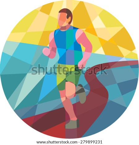 Low polygon style illustration of marathon triathlete runner running in action set inside circle. - stock vector