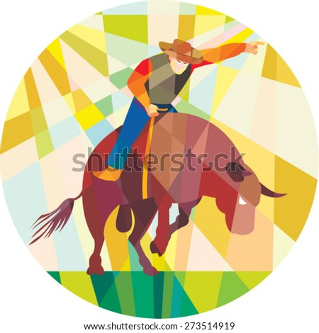 Low polygon style illustration of rodeo cowboy pointing riding bucking bull set inside a circle. - stock vector