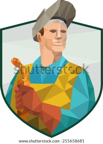 Low Polygon style illustration of welder worker working holding welding torch viewed from front set inside shield crest on isolated background.  - stock vector