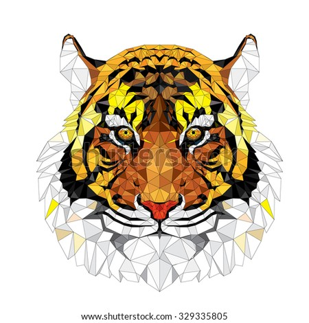 Low polygon Tiger geometric pattern - Vector illustration  - stock vector
