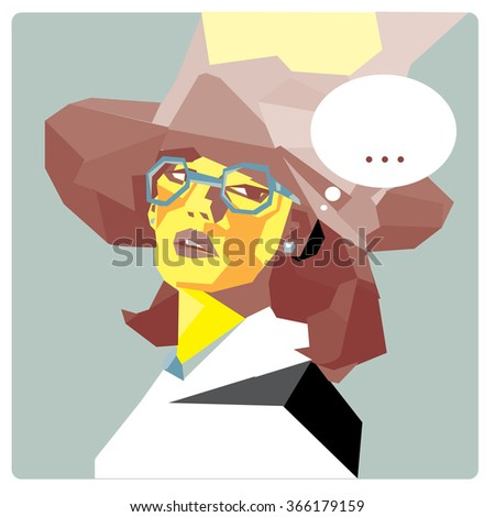 Low polygonal illustration pop art women