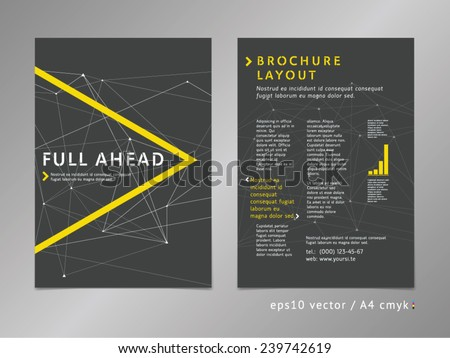 Low polygonal layout template design: catalog, brochure, cover, page. Moving ahead concept on stars background. Geometric sharp surfaces, minimalistic graphite color style. Arrow play shape. - stock vector