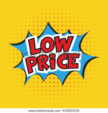 Low price banner design. Vector illustration. Cartoon. Dotted background - stock vector