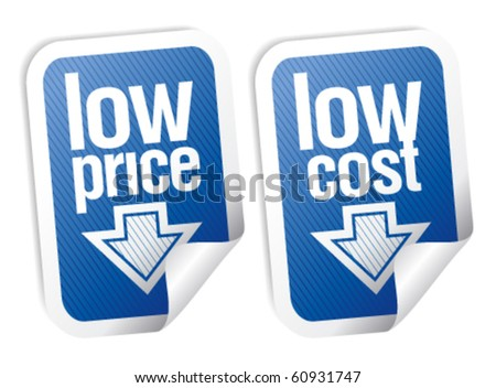 Low price stickers set with shadow. - stock vector