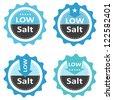 Low salt food labels. - stock vector