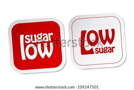 Low sugar stickers - stock vector