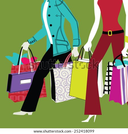 Lower body section of a young tourist couple walking by store - stock vector