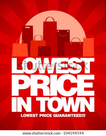 Lowest price in town, sale design with shopping bags.
