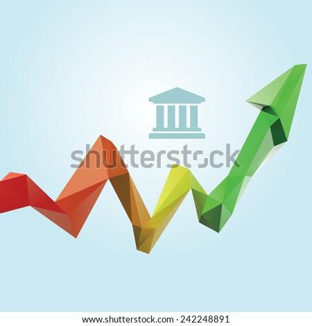 Lowpoly finance increase diagram - stock vector