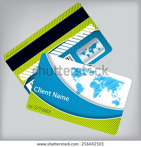 Loyalty card design with vivid striped colors and scribbled map - stock vector