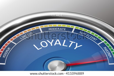 loyalty conceptual 3d illustration meter indicator isolated on grey background