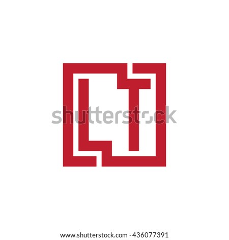 LT initial letters looping linked square logo red