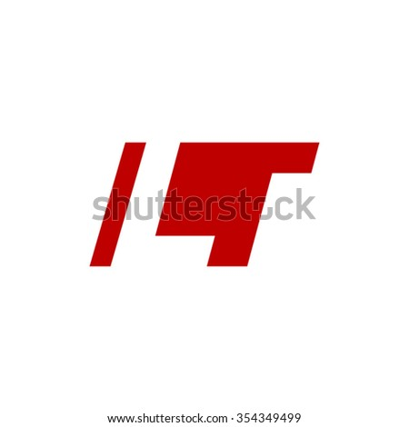LT negative space letter logo red