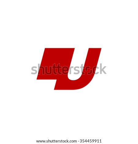 Lu Negative Space Letter Logo Red Stock Vector 354459911 Shutterstock