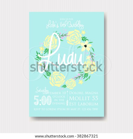 Luau invitation with floral wreath - stock vector
