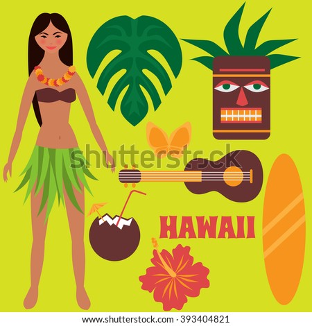 Luau party design elements, tropical rest, time off on Hawaii islands, vacation, summer weekend, Girl dancing hula, hawaiian flowers, tiki mask, ukulele guitar, surf board and coconut drink isolated - stock vector