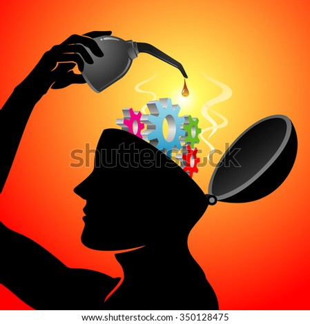 Lubricating Worn Out Mind-Mechanical cogs in head opened for maintenance - stock vector