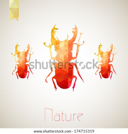 Lucanus cervus abstract beetle - stock vector