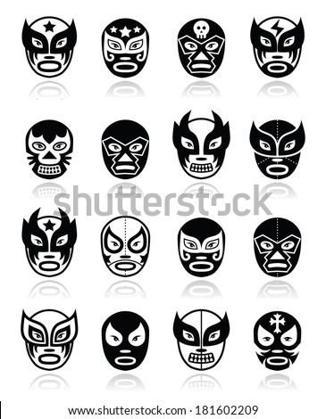Lucha libre, luchador Mexican wrestling black masks icons - stock vector