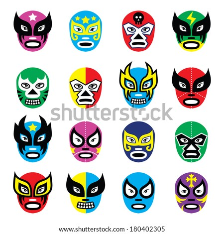 Lucha libre, luchador mexican wrestling masks icons - stock vector
