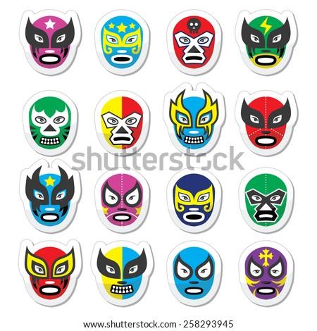 Lucha libre, luchador mexican wrestling masks icons - stock vector