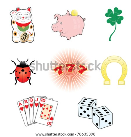 Luck and fortune.8 symbols set. - stock vector