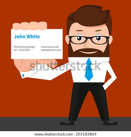 Lucky businessman is presenting a business card - stock vector