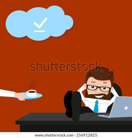Lucky businessman is relaxing at work place. Conceptual illustration. - stock vector