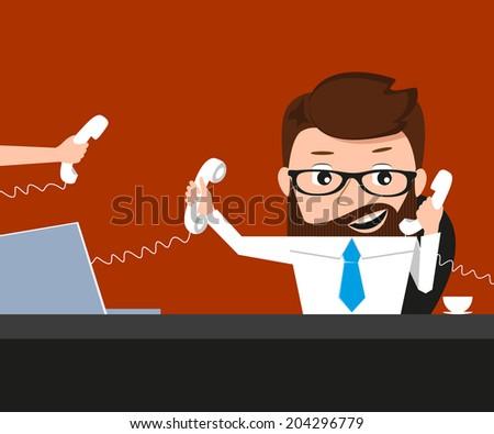 Lucky businessman is speaking via three phones - stock vector