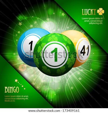 Lucky Clover Bingo Balls on a Green Star burst with Corners and Sample Text