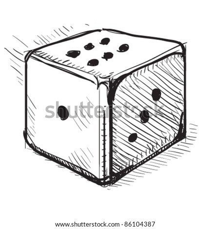 Lucky dice cartoon icon. Sketch fast pencil hand drawing illustration in funny doodle style. - stock vector