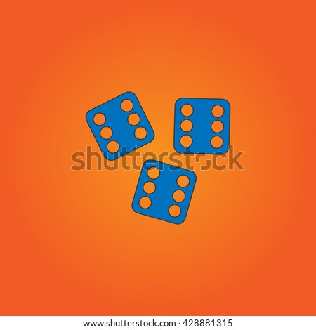 Lucky dices casino gambling game jackpot. Blue flat icon with black stroke on orange background. Collection concept vector pictogram for infographic project and logo - stock vector